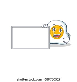 fried egg character cartoon with board