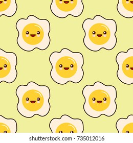 Fried egg faces seamless pattern kawaii cartoon character seamless pattern on yellow background. Flat design Vector Illustration EPS