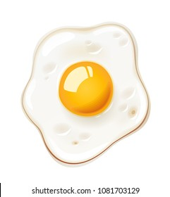 Fried egg. Fast food. Cooking lunch, dinner, breakfast. Natural product. Cooked omelet. Scrambled eggs. Isolated white background. EPS10 vector illustration.