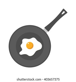 Fried egg in a frying pan isolated on white background. Fried egg flat icon. Fried egg vector