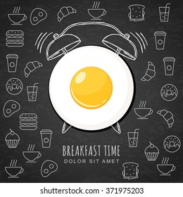 Fried egg and hand drawn watercolor alarm clock on textured black board background with outline food icons. Vector design for breakfast menu, cafe, restaurant. Fast food background.