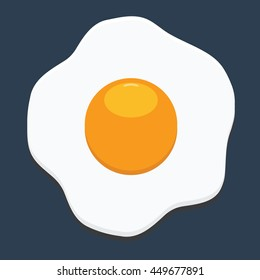 Fried egg icon with flat color style isolated with solid background. Fresh fried egg delicious cuisine dish.