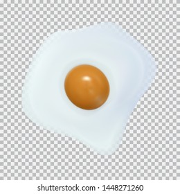 Fried egg isolated on white black background. Design for grocery, culinary products, seasoning, recipe web site decoration, cooking book. Vector illustration for your design and business.