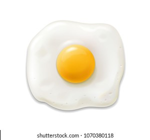 Fried egg isolated realistic 3d icon. Scrambled egg illustration vector