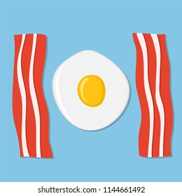 Fried egg and meat bacon on blue as breakfast concept, stock vector illustration