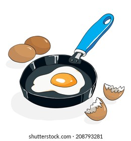 Fried egg on a pan. Hand drawn vector illustration.