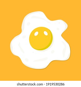 Fried egg on yellow background. Vector illustration.