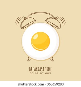 Fried egg and outline alarm clock, vector illustration of breakfast. Concept for breakfast menu, cafe, restaurant.  Logo design template. Food background.