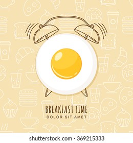 Fried egg and outline alarm clock on seamless background with linear food icons. Vector design for breakfast menu, cafe, restaurant.  Logo design template. Food background.