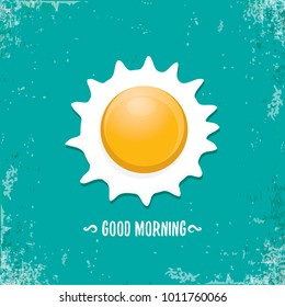 Fried Egg vector illustration. good morning concept. breakfast fried chicken egg with a orange yolk in the center of the fried egg flat laying on grunge azure background. top view
