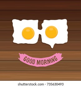 Fried Egg vector illustration. good morning concept. breakfast fried chicken egg with a orange yolk in the center of the fried egg flat laying on wooden table background. top view