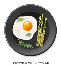 Fried eggs with asparagus on the black plate. Vector illustration