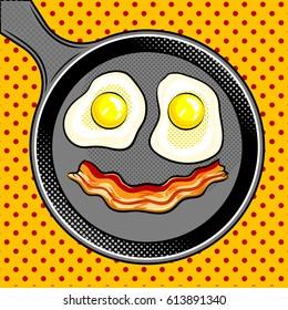 Fried eggs bacon looks like smile pop art hand drawn vector illustration.