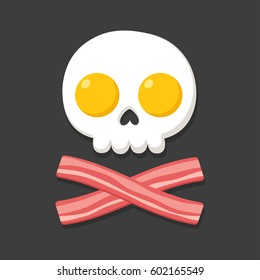 Fried eggs and bacon as skull and crossbones. Danger of fat and deadly cholesterol, nutrition concept. Cartoon food vector illustration.