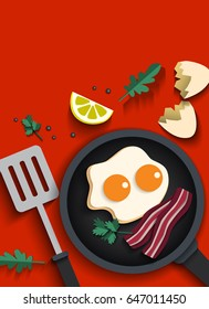Fried eggs are a breakfast with bacon, Paper cut concept. Use clipping mask.