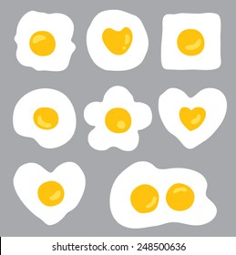 Fried Eggs in Different Shapes