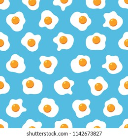 Fried eggs seamless pattern wallpaper on blue background, Simple flat design, Vector illustration