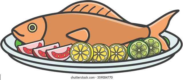 fried fish cute doodle illustration design stock illustration rh shutterstock com Chicken Fried Fish Dinner Clip Art Fried-Fish Sandwich