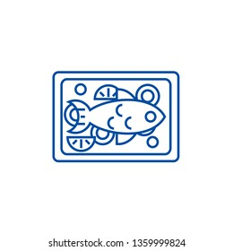 Fried fish line icon concept. Fried fish flat  vector symbol, sign, outline illustration.