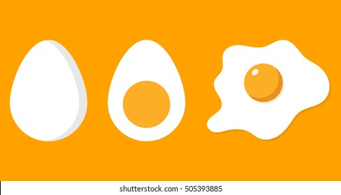 Fried, half and eggs in shell. Eggs isolated on background. Cartoon flat design