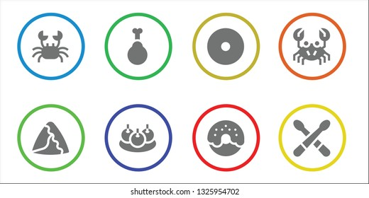 fried icon set. 8 filled fried icons.  Collection Of - Crab, Samosa, Chicken, Bitterballen, Donut, Drumsticks