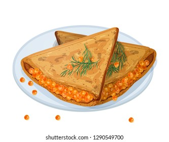 Fried pancakes, blini or crepes stuffed with caviar and lying on plate isolated on white background. Traditional meal of Russian cuisine. Delicious cooked breakfast. Colorful vector illustration.