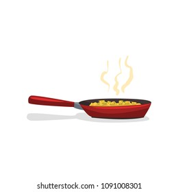 Fried potatoes with spices in a frying pan vector Illustration on a white background