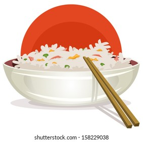 Fried Rice With Asian Chopsticks/ Illustration of a cartoon plate of fried rice with chinese chopsticks for asian food background, with ham, green peas and egg