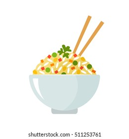 Fried rice in a plate with Chinese chopsticks. flat vector illustration isolate on a white background. easy to use