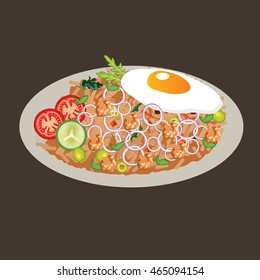 fried rice vector drawing illustration cusine food asian