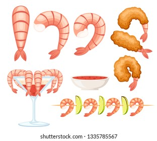 Fried shrimp in batter, boiled and kebab shrimp. Sauce for seafood. Tasty restaurant food. Flat vector illustration isolated on white background.