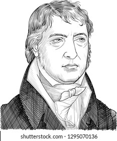 Friedrich Hegel (1770-1831) portrait in line art. He was German philosopher and idealist who developed dialectical scheme that emphasized the ideas from thesis to antithesis and thence to a synthesis.