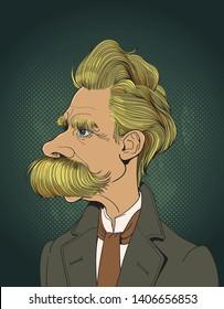 Friedrich Nietzsche portrait in line art illustration. He was a German philosopher, philologist, poet, composer and classical scholar.