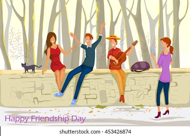 Friend celebrating Happy Friendship Day in vector