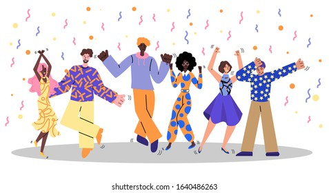 Friend group at retro dance party - cartoon people dancing and having fun