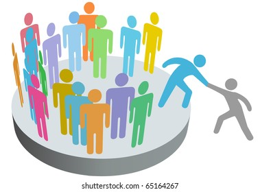A friend helps a person join a company club team or other group.