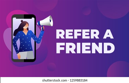 Friend sharing refer. Women shout on megaphone with Refer a friend word concept. referral code. vector illustration with character, landing page template, ui, web, mobile app, poster, banner, flyer.
