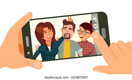 Friend Taking Photo On Smartphone Vector. Smiling Friends Taking Selfie. People Posing. Hand Holding Smartphone. Friendship Concept. Isolated Flat Cartoon Illustration