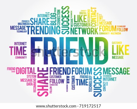 Friend Word Cloud Technology Business Concept Stock Vector