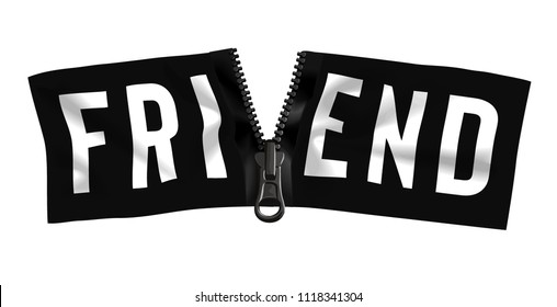friend word on unzipped black banner illustration