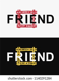 friend word in square yellow tape illustration