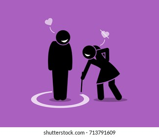 Friend Zone Concept Illustration. Vector artwork depicts a man is friendzoned by a girl. She draw a circle around the man to signify a boundary between their friendship and actual love.
