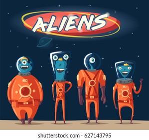 Friendly aliens. Cartoon vector illustration