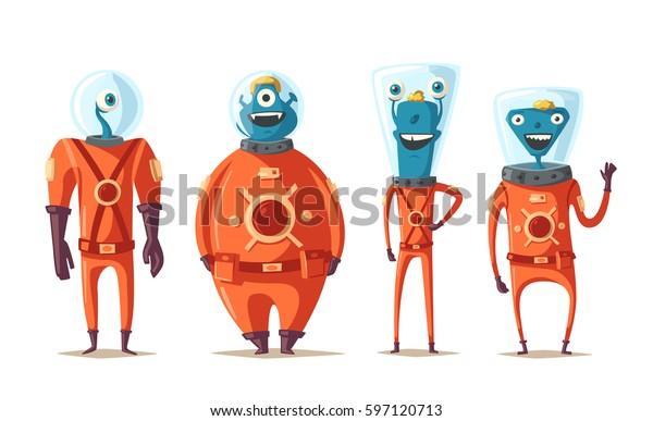 Дружественные инопланетяне. Мультфильм векторная иллюстрация