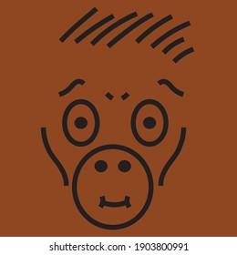 Friendly Ape clipart cartoon character vector primate (Hominoidea)