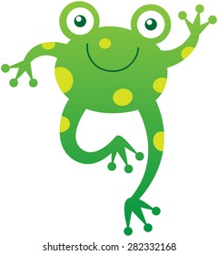 Friendly baby frog with yellow spots, bulging eyes and long hind legs while smiling enthusiastically and waving animatedly in a very sweet mood