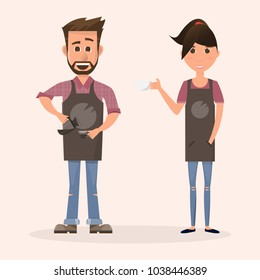 friendly barista man and woman in front of coffee machine in a coffee shop. they pouring and holding milk and making a cup of coffee. Cartoon restaurant staff. Vector illustration