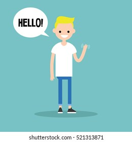 "Friendly blond boy saying ""Hello"" and waving hand / editable vector clip art illustration"