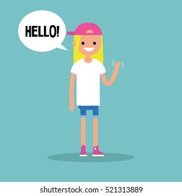 """Friendly blond girl saying """"Hello"""" and waving hand / editable vector clip art illustration"""