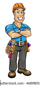 Friendly builder with helmet and a belt with tools